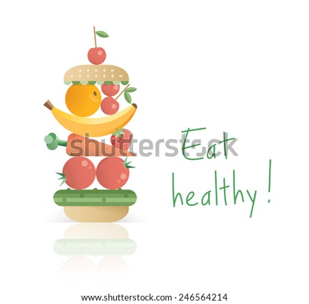 Abstract unusual vegetarian burger or sandwich with fruits and vegetables. Idea - Healthy lifestyle, Vegetarianism. - stock vector
