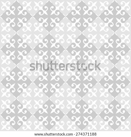 Abstract upholstery seamless background. Tender grey damask repeatable pattern. Monochrome lacy ornament. Texture for web or textile. Vector file is EPS8. - stock vector