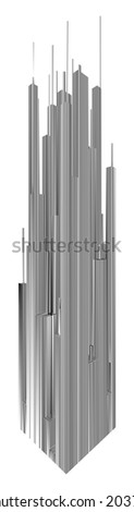 Abstract Urban City Skyscrapers Of Stripes Vector - stock vector