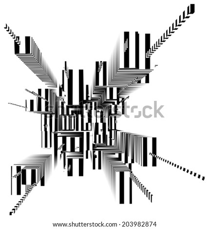 Abstract Urban City Skyscrapers Of Stripes Vector 182 - stock vector