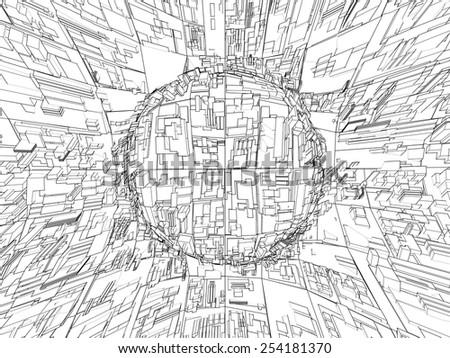 Abstract Urban City Vector 307 - stock vector
