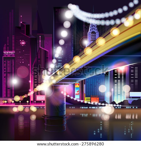 Abstract urban night landscape with parts of buildings and bridge,lights cars,city,metropolis. Vector background. Effect blur, bokeh, light point, color flows. The world of light and color. handiwork. - stock vector