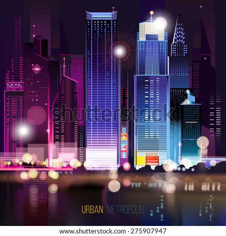 Abstract urban night landscape with parts of buildings ,lights cars,city,metropolis. Vector background. Effect blur, bokeh, light point, color flows. The world of light and color. handiwork.