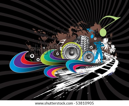 abstract urban skylines music background with urban city party, vector illustration