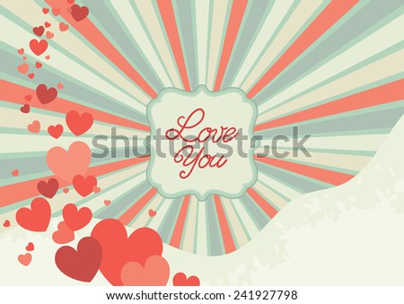 Abstract valentine background. Retro  ornate border with  hearts and text  - stock vector