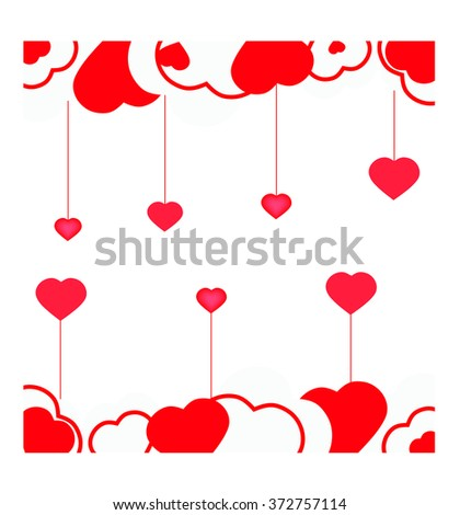 Abstract valentine background with red and wight hearts. Vector illustration