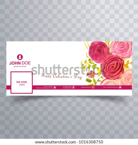 Abstract Valentines Day Facebook Cover Design Stock Vector