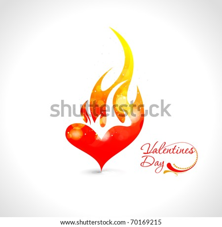 Abstract valentines day fire heart design element background. - stock vector