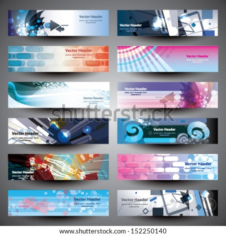 Abstract various 12 colorful header set. Banner collection vector design. - stock vector