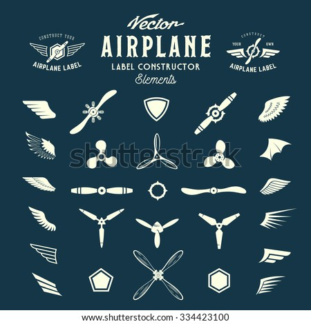 Abstract Vector Airplane Labels or Logos Construction Elements. On Blue Background. - stock vector
