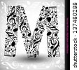 Abstract vector alphabet - M made from music notes - alphabet set - stock photo