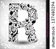 Abstract vector alphabet - R made from music notes - alphabet set - stock photo