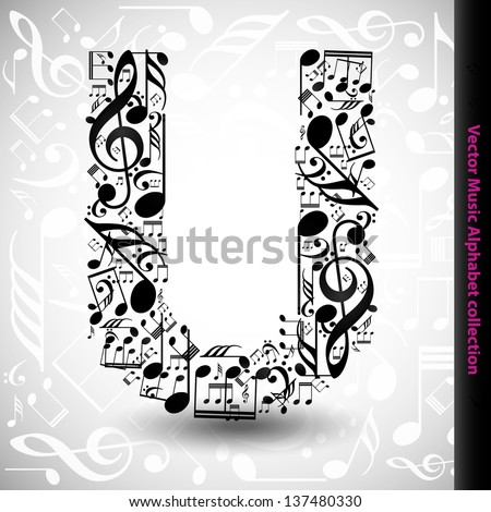 Music Notes Font U made from music notes