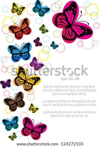 abstract vector backdrop design with colorful butterflies and bubbles isolated on white background