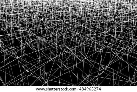 Abstract vector backdrop, wallpaper. Countless random wireframe forms. Transparent 3D structures in perspective. Irregular geometric design. White stroke, black background. Editable line width.