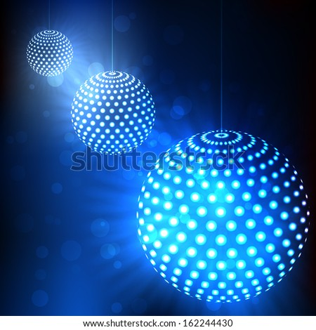 Abstract vector background. Blue balls with glowing dots - stock vector