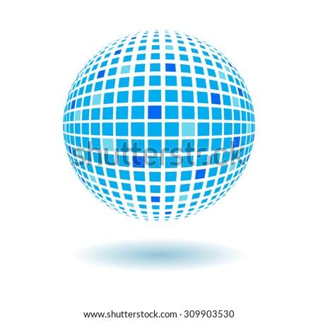 Abstract vector background. Blue tiles sphere