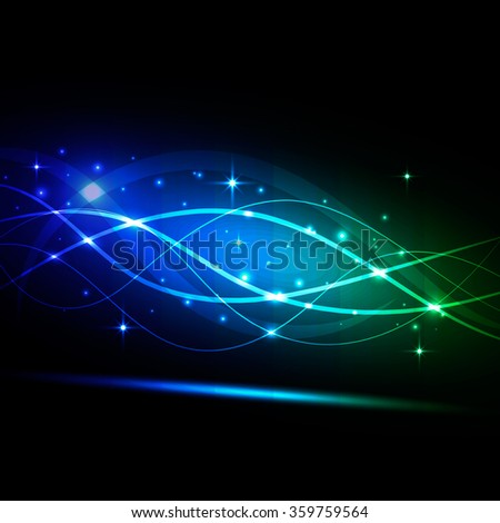 abstract vector background, bright blue glowing wave and stars - stock vector