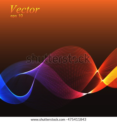 abstract vector background, bright red glowing waves.
