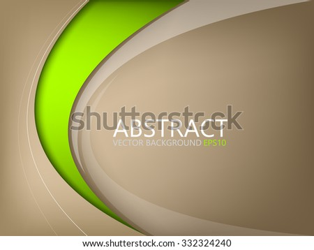Abstract vector background brown element with green curve line on brown space for text and message design - stock vector