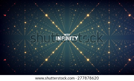 Abstract vector background. Matrix of glowing stars with illusion of depth and perspective. Abstract futuristic space background - stock vector