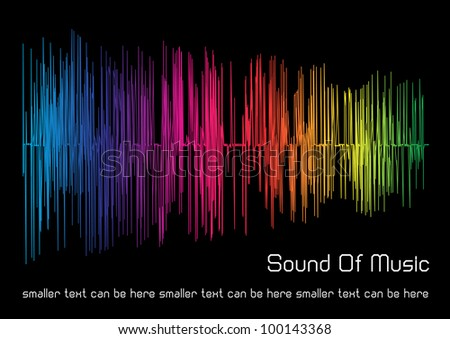 abstract vector background of gradient rainbow sound waves and place for your text isolated on black background