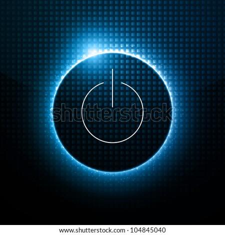 Abstract Vector Background - Power Button behind Dark Design - stock vector