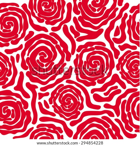 Abstract vector background. Safari collection. Seamless floral pattern. African roses. Zebra print. Red on white. Backgrounds & textures shop. - stock vector