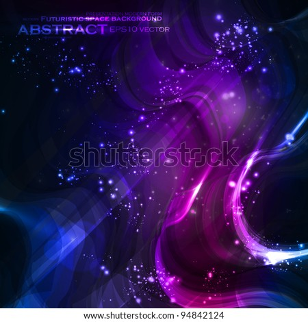 Abstract vector background, shiny space, futuristic wave illustration eps10