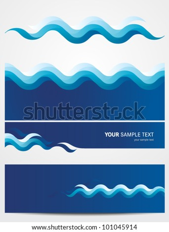 Abstract vector background -water waves - stock vector