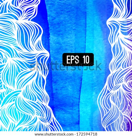 Abstract vector background. Watercolor background with waves. Blue watercolour banner. Vector illustration. Wavy graphic. Painted image. Can be used for card (postcard), menu, banner, web, printing - stock vector