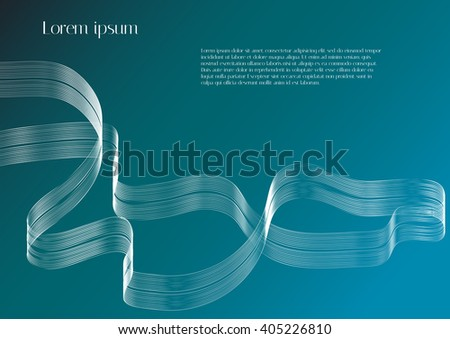 Abstract vector background. White abstract ribbon on light blue background - stock vector