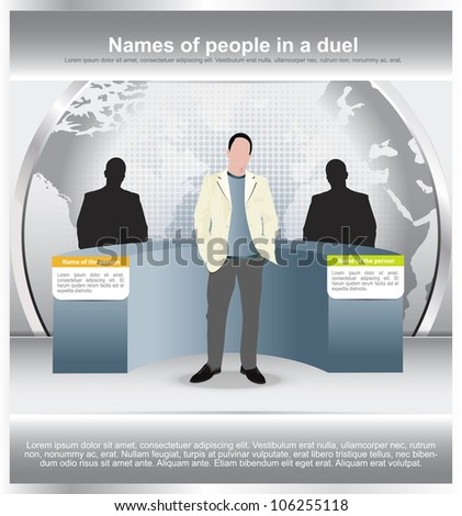 Abstract vector background with a duel of two persons and moderator in the studio - stock vector