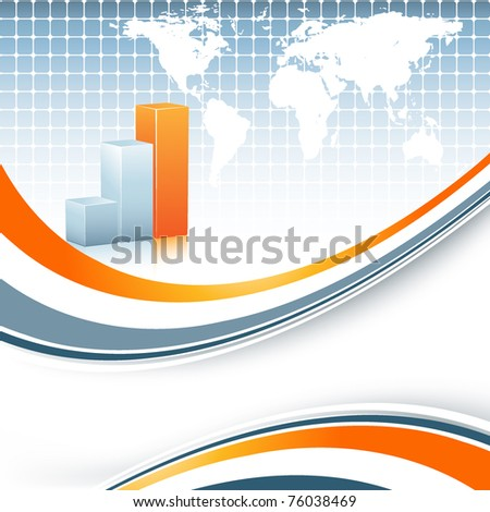 abstract vector background with bar graphs ans world map - stock vector