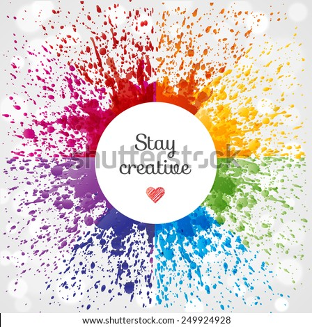 Abstract vector background with bright rainbow splashes and place for your test.  - stock vector