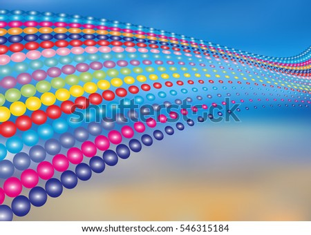 Abstract vector background with colored balls on the sky