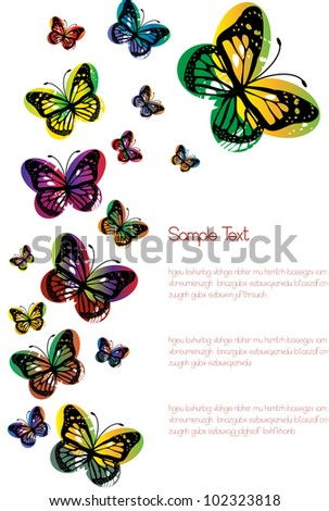 abstract vector background with colorful glossy gradient butterfly silhouettes and place for your text isolated on white background