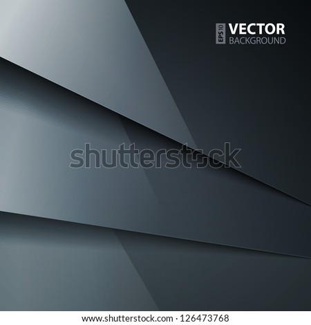 Abstract vector background with dark gray metal layers. RGB EPS 10 vector illustration - stock vector
