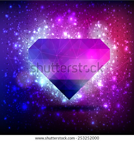 Abstract vector background with diamond of triangle with lights flickering, bokeh and stars constellation cosmos - stock vector