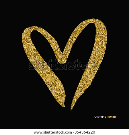 Abstract vector background with gold glitter and a shape of a heart. 100% vector - easy to use and edit. Gold sparkles. Design for wedding card, valentine, save the date. - stock vector