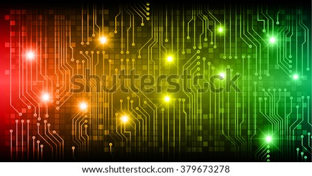 abstract vector background with high tech red yellow green circuit board. - stock vector