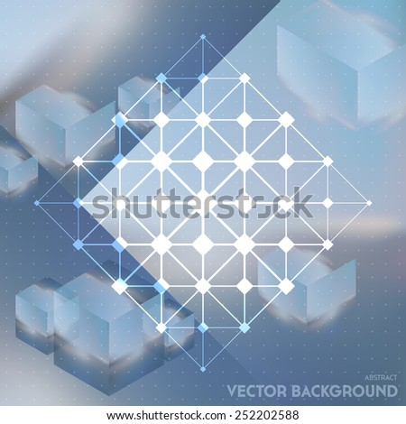 Abstract vector background with isometric cubes with reflection of the environment and low poly structure on blurred background. Vector looks like double exposure. - stock vector