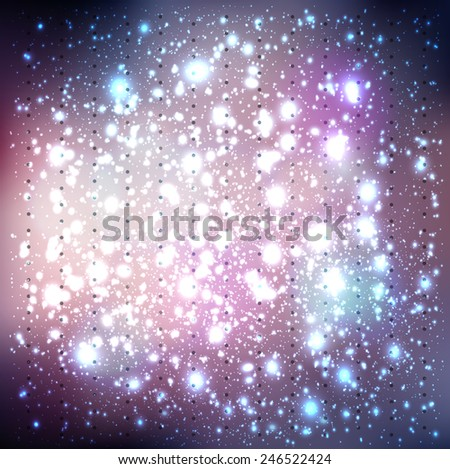 Abstract vector background with lights flickering, bokeh and stars constellation cosmos - stock vector
