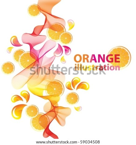 Abstract vector background with orange - stock vector