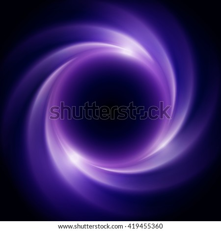 Abstract vector background with purple toned swirl and hole in center or collapsar isolated on black. Beautiful cosmic eclipse in a distant galaxy - stock vector