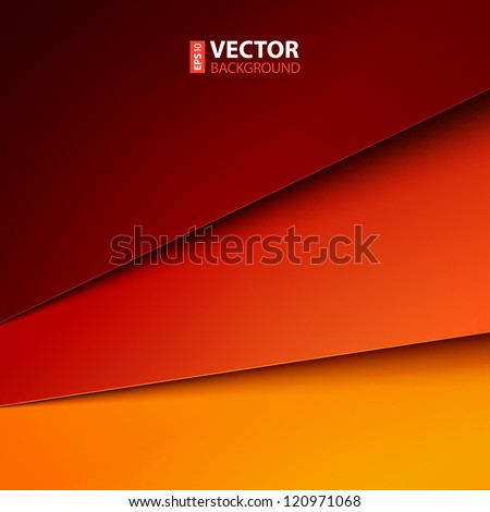 Abstract vector background with red and orange paper layers - stock vector