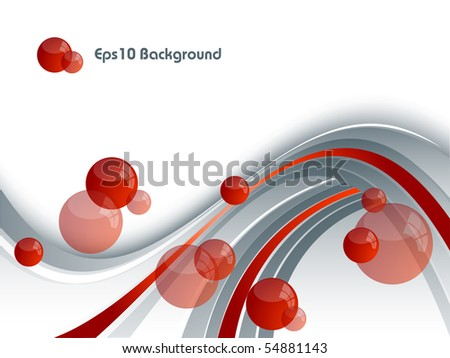 abstract vector background with red spheres. Eps10 - stock vector