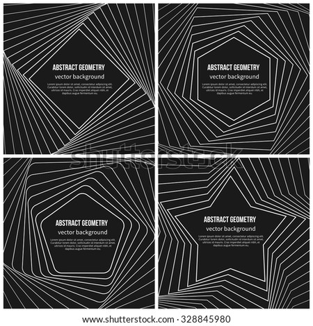 Abstract vector background with simple geometric shapes in linear style. Pentagon and rhombus, star and hexagon form illustration - stock vector