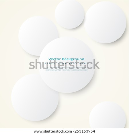 Abstract vector background with simple volume white circles  - stock vector