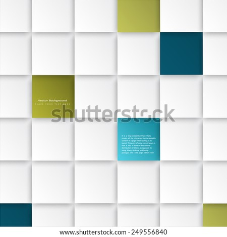Abstract vector background with square tiles . The template is ready to accommodate your text - stock vector